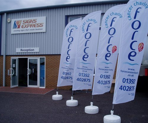 Part sponsored 'feather' flags supplied to FORCE to promote their fundraising efforts