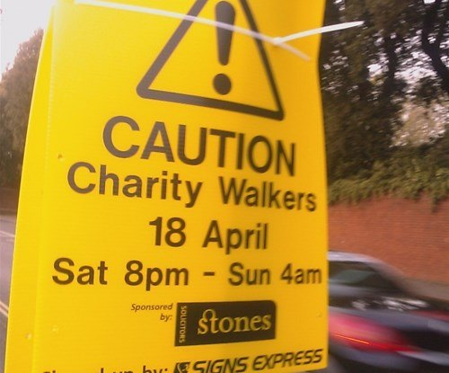 Directional and safety warning signs were donated for the inaugural 'Exeter Night Walk'