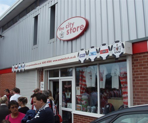Shop signage supplied and fitted for Exeter City F.C.'s shop