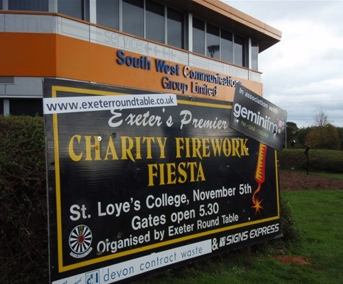 One of ten signs provided to promote the annual St Loyes Firework display, along with sponsors Gemini Radio