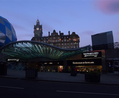 Shopping centre at dusk