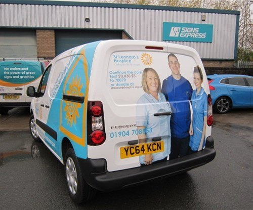 Small van vehicle graphics for St Leonards Hospice