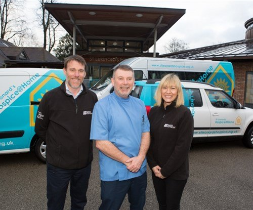 Ian Dawson (left) and Louise Earnshaw (right) with Sean Tasker, Nurse at the Hospice