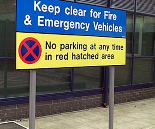 Hospital keep clear sign