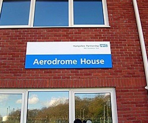 Hospital aluminium tray building sign
