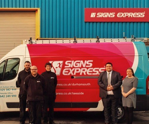 Daniel Pickersgill (second from the right) and his team at Signs Express South Durham