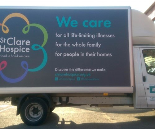 St Clare Hospice van new graphic livery