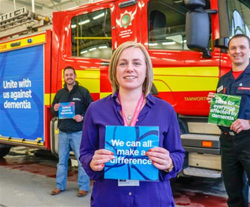 Alzheimer's and dementia awareness fire engine graphics