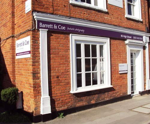 Barrett & Coe - Chobham photographer Phil Cole asked Signs Express (Farnborough) to manufacture and install fab 'purple and white' themed fascia and wall signage to his new studio on the High Street, Chobham.