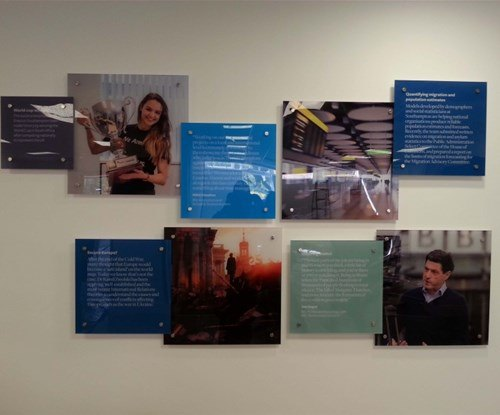 Colourful wall displays at the University of Southampton