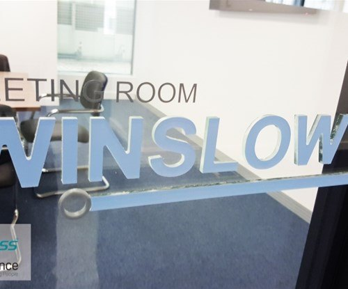Numerous room names using flush bonded acrylic and vinyl to make it stand out