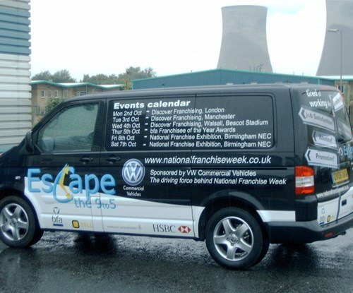 Promotional vehicle graphics for National Franchise Week