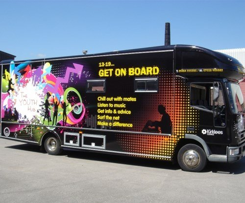Full colour graphics applied to the Youth Hub