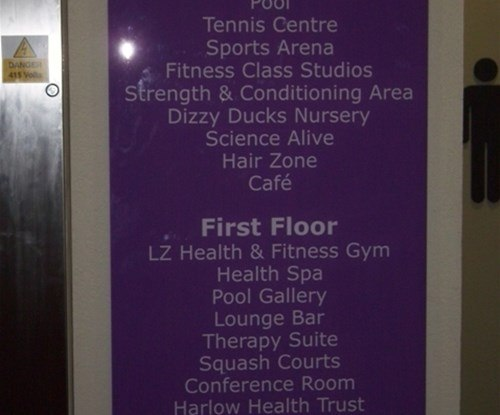 Internal directory sign, 5mm acrylic panel, vinyl text backed up on pantone matched vinyl mounted on brushed stainless stand offs