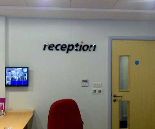 Flat-cut acrylic letters on stand-off locators