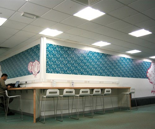 Decorative displays installed directly to the walls of Bath University
