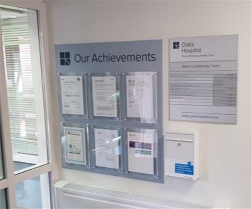 Achievements Board with acrylic document pockets