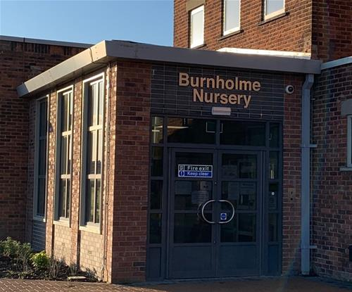Brushed steel effect letters for Burnholme Nursery