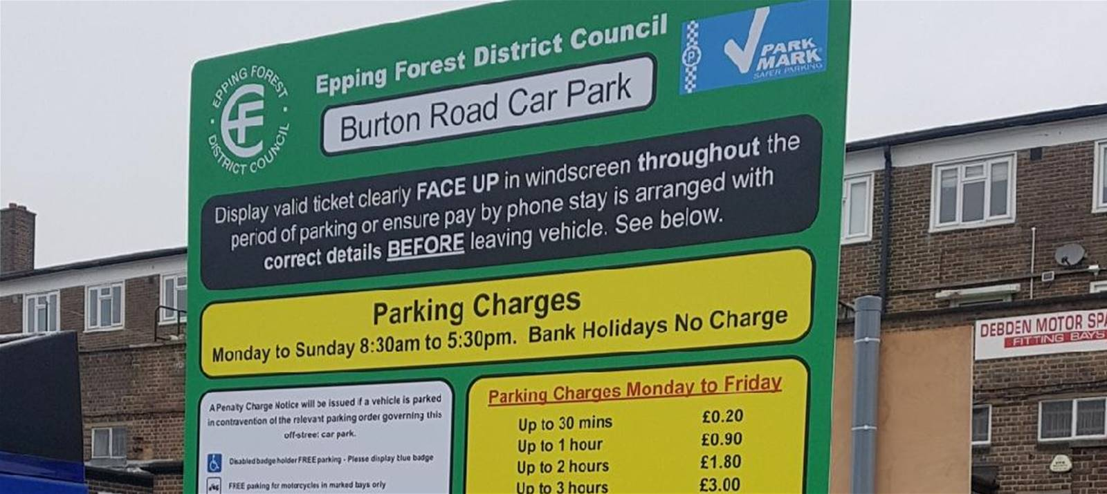 One of 43 Parking Tariff Boards replaced for Epping Forest District Council