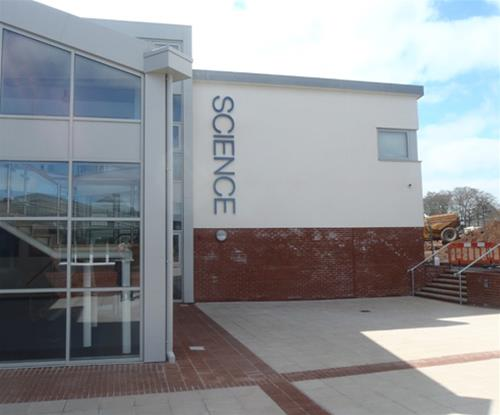 Individually cut stainless steel lettering as Uffculme School department building sign