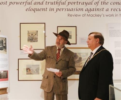 Chairman of Epping Forest District Council viewing the exhibition