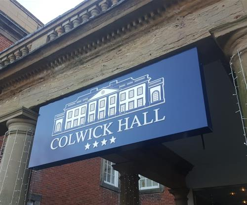 Outdoor sign for Colwick Hall entrance