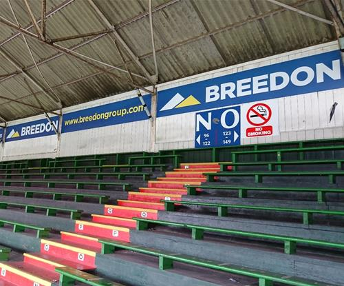 Breedon stand signage along the inside seating area