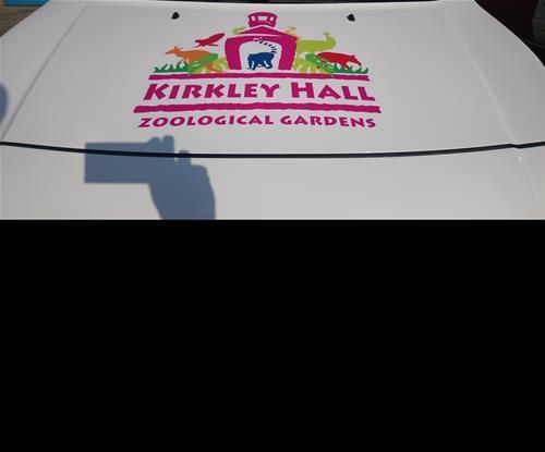 Logo on front of van