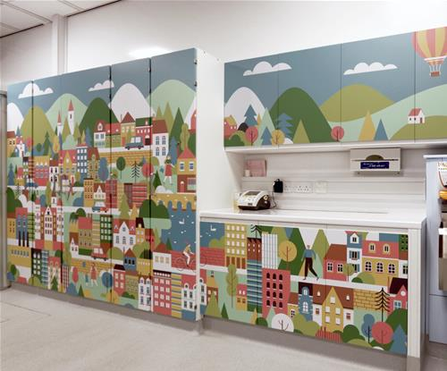 Colourful graphics applied to storage cupboards