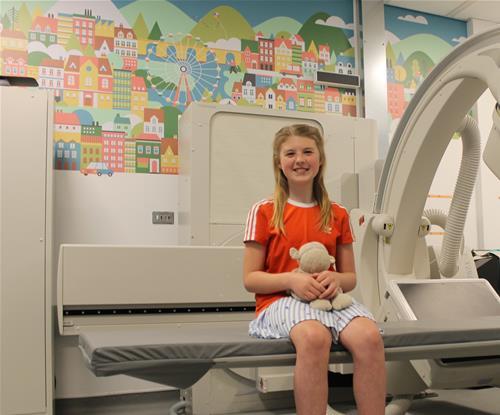Ella Sparham enjoying the new graphics in the Fluoroscopy Suite