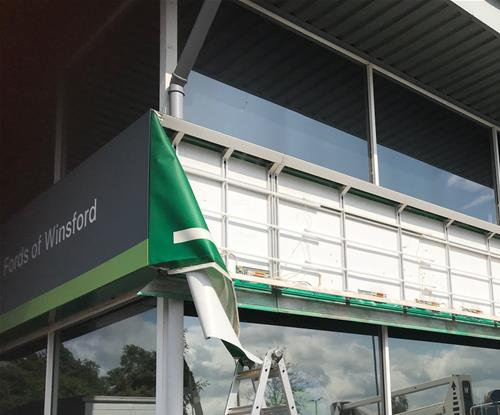 Previous Branded External Signage Removed Ready For New Business Sign