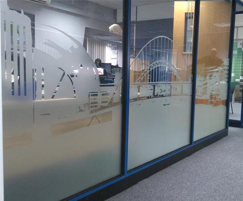 Avery Frosted Glass with local landmarks to the Newcastle area