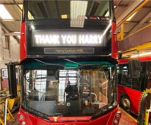 Bus graphics being applied