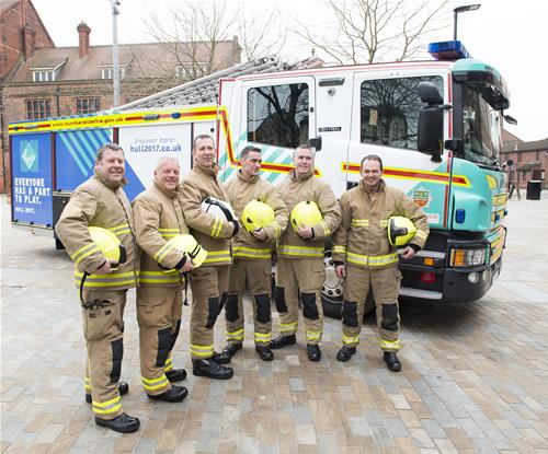 Humberside Fire Service in front of truck