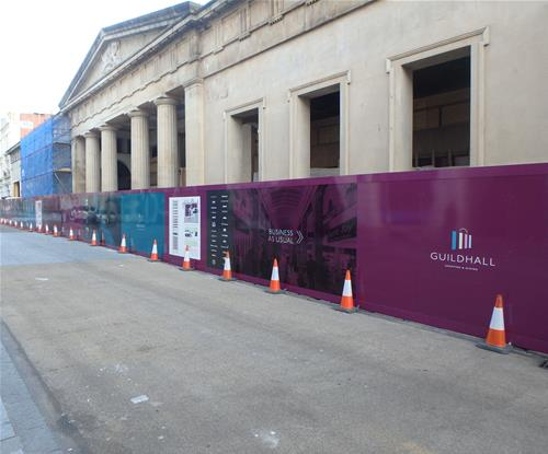 Full colour digital print on hoardings to improve appearance of area & display promotional information during project works.