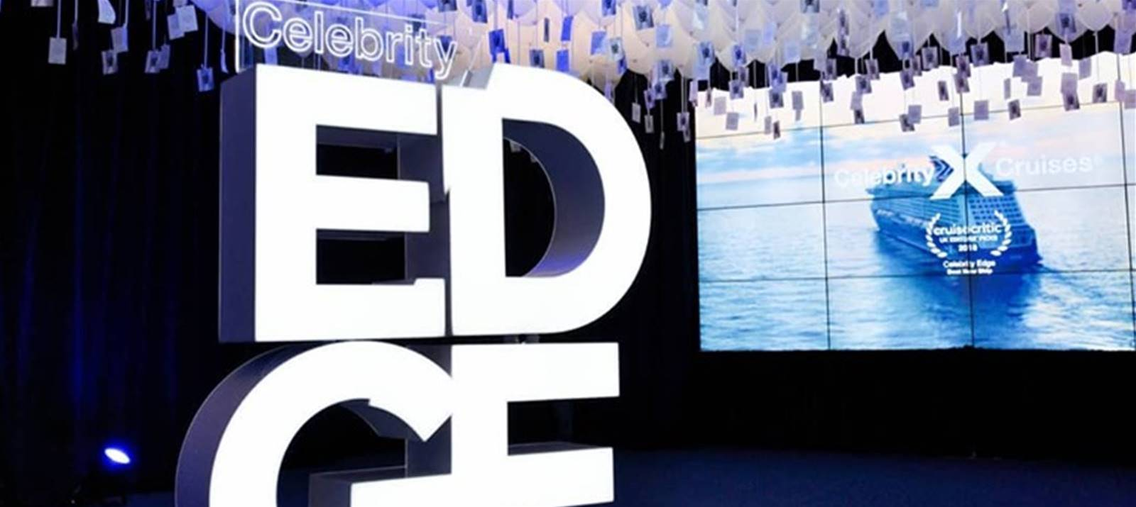 Illuminated built up sign for celebrity edge in Southampton