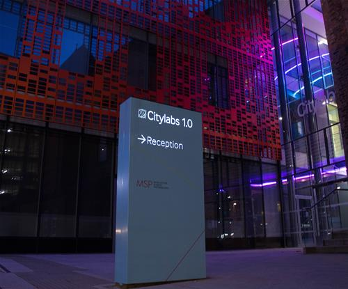 A fitting entrance sign for this science centre of excellence