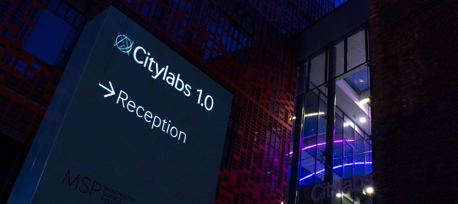LED illuminated signage at Citylabs Manchester