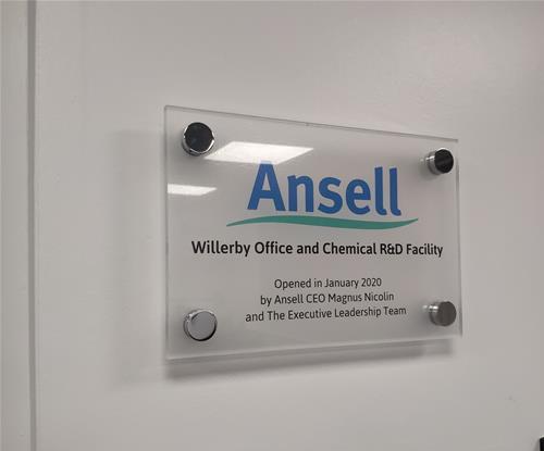 Acrylic wayfinding plaque