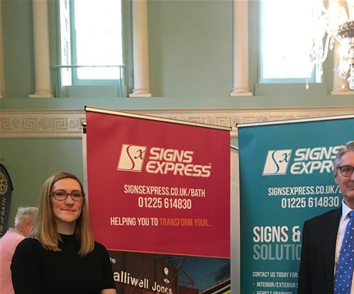Julia and Mark at the Signs Express (Bath) stand as part of the Bath Business Expo