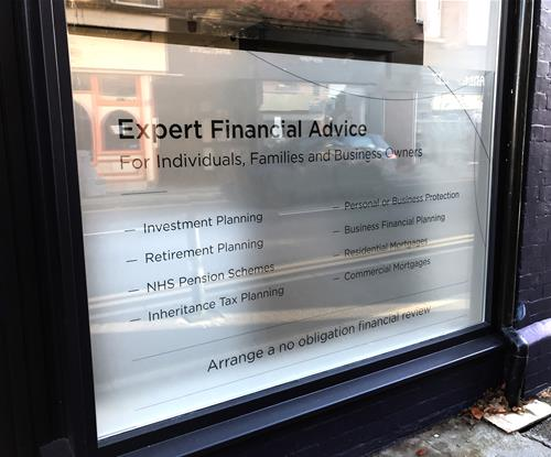 Frosted window vinyl with etched lettering