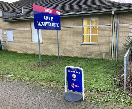 Post and Panel Sign with A-Board