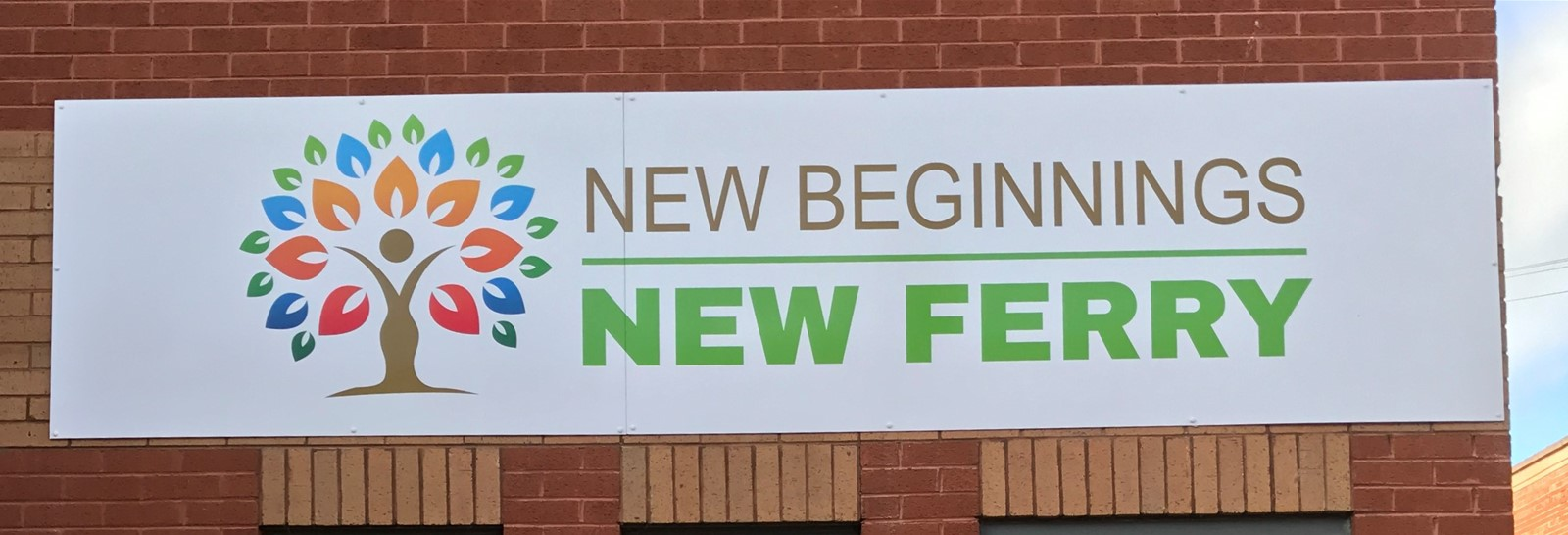 Outdoor signage panel at New Ferry