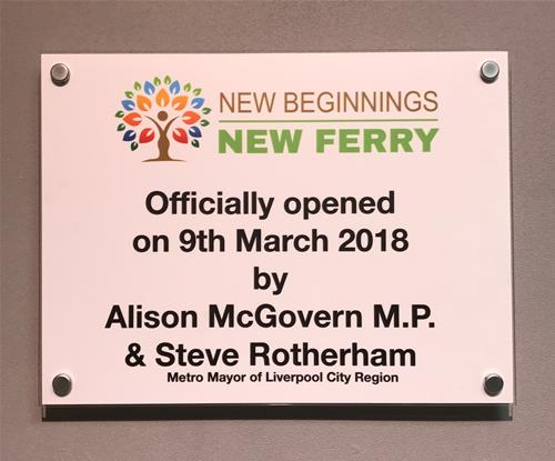 New Beginnings New Ferry's official opening acrylic plaque