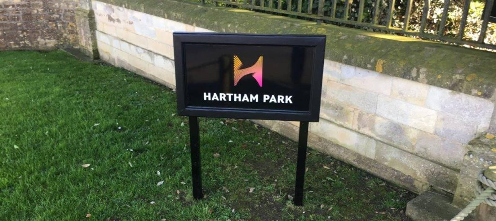 Hartham Park post sign