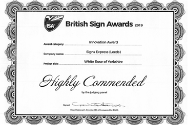 Signs Express (Leeds) Sign Awards Certificate