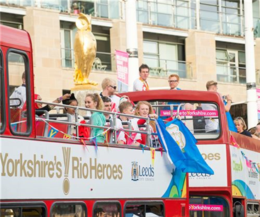 The medal winning athletes during the Leeds parade