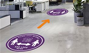 Floor graphics to reinforce social distancing