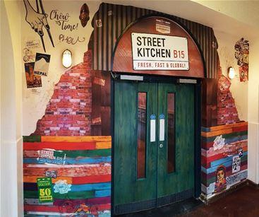 Artistic wallpaper for restaurant entrance in Birmingham