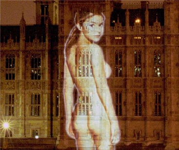 Gail Porter causes a stir with FHM sign projected onto Parliament